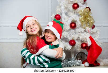 Family holiday tradition. Children cheerful celebrate christmas. Kids  christmas costumes santa 5ad24b707