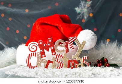 Merry Christmas festive background card with red Santa hat