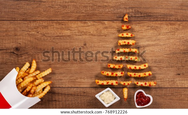 Fast Food Open On Christmas.Merry Christmas French Fries Fast Food Stock Photo Edit Now