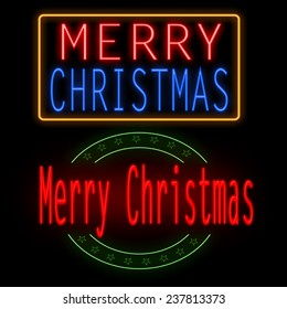 Merry Christmas glowing neon sign on black background