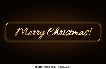 Merry Christmas gold text in frame. Holiday background. Golden type decorative design for card, banner, greeting, vintage decoration. Symbol Happy New Year celebration, holiday. illustration