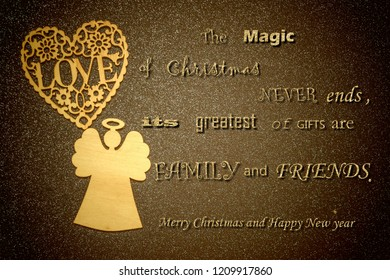 Merry Christmas greeting card. Angel and wooden heart on bright brown background with nice Christmas message for family and friends