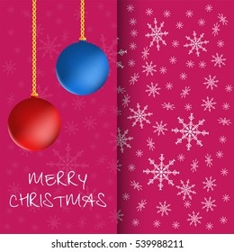 Merry Christmas greeting card with christmas balls and snowflakes.