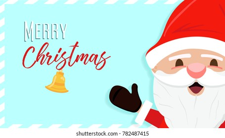 Merry Christmas greeting card illustration for holiday season. Cute Santa Claus character with typography quote.
