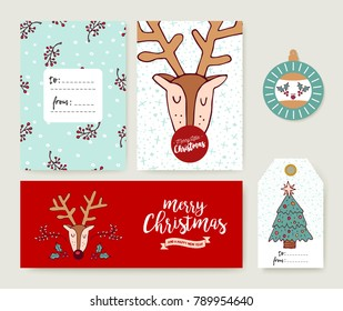 Merry Christmas greeting card set with cute reindeer hand drawn cartoon. Includes holiday themed template, tag and label.