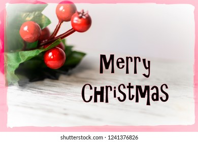 Merry Christmas greeting card with text and decorations.