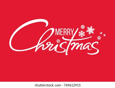 Merry Christmas handwritten lettering. White text with snowflakes isolated on red background. Christmas holidays typography.