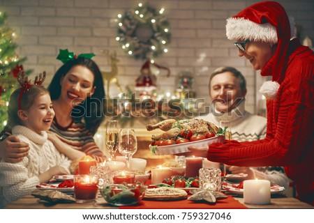 Merry Christmas Happy Family Having Dinner Stock Photo (Edit Now ...