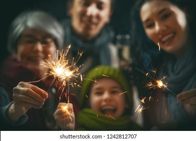 Merry Christmas and Happy Holiday! Family having fun on New Year.
