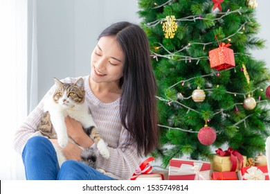 Merry Christmas and Happy Holiday-A beautiful asian woman and her lovely cat.
