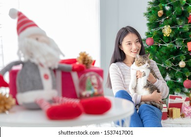 Merry Christmas and Happy Holiday-Happy asian woman with her lovely cat.