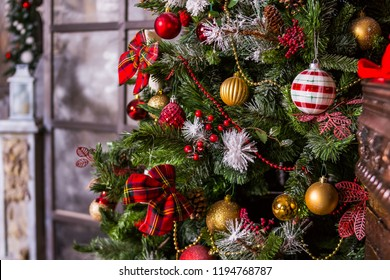 Merry Christmas and Happy Holidays. A beautiful living room decorated for Christmas.festively decorated home interior with Christmas tree.beautiful ornaments and white sparkling lights.