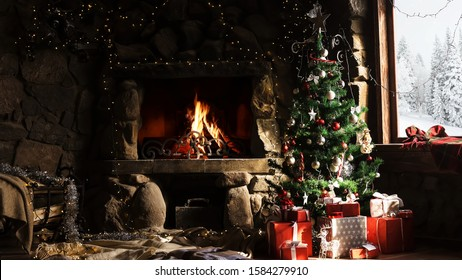 Christmas Tree Fireplace Images Stock Photos Vectors Shutterstock