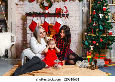 Merry Christmas And Happy Holidays Family 2 Mothers Daughter Sitting At Cozy