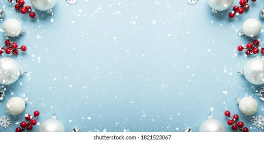 Merry Christmas and Happy Holidays greeting card, frame, banner. New Year. Noel. Christmas white, silver 