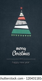 Merry Christmas and happy new year greetings in vertical top view dark blackboard with paper gift wraps christmas tree pine design.Xmas winter holiday season portrait social media card background