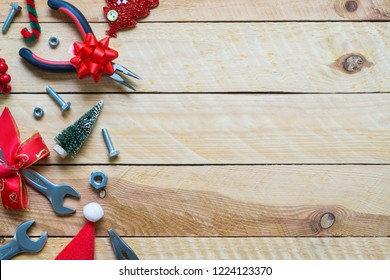 Merry Christmas and Happy new year handy tools gift background concept. Top view with copy space.