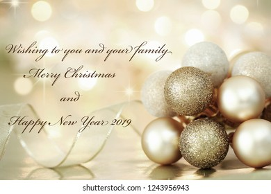 Merry Christmas and happy new year  Greeting card with ornament  background