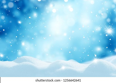 Merry Christmas and happy New Year greeting card with copy-space.Winter landscape with snow