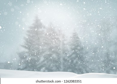 Merry Christmas and happy new year greeting card. Winter landscape with snow .Christmas background with fir trees