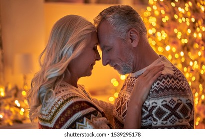 Merry Christmas and Happy New Year! Love has no age! Senior romantic couple is celebrating holiday at home. Grandmother and grandfather in New Year Eve.