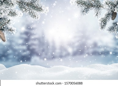 Merry Christmas and happy new year greeting card. Winter landscape with snow .Christmas background with fir tree branch and cones