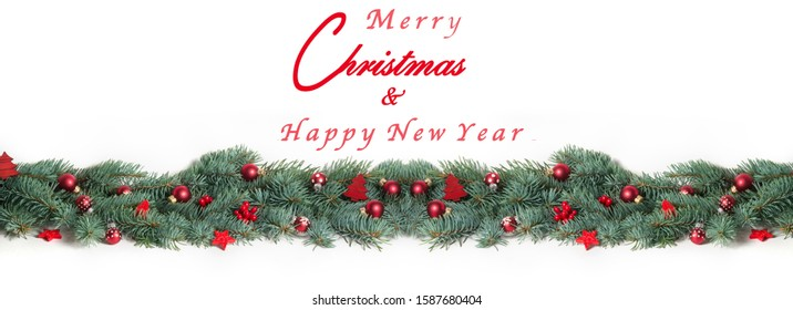 Merry Christmas and happy new year, Christmas card as banner