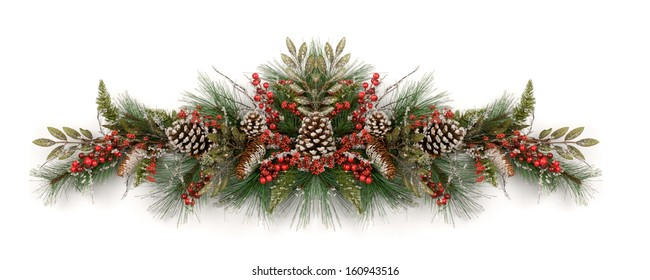 Merry Christmas and Happy New Year. Christmas garland decorated with pine cones and red berries