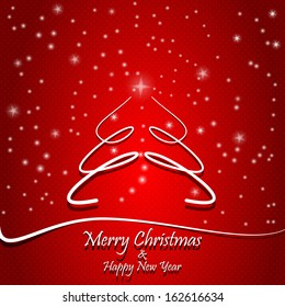 Merry Christmas and Happy New Year gift card, red background with stars and snow; abstract xmass tree.Raster copy