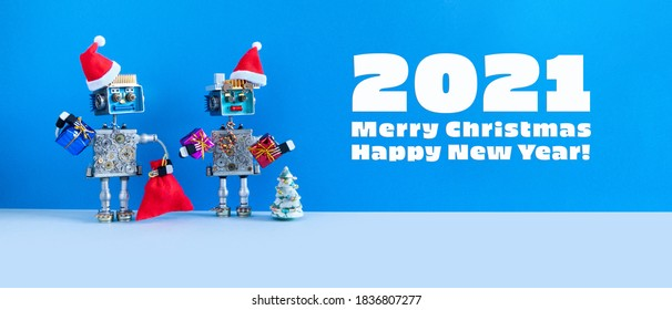Merry Christmas Happy New Year robotics poster. Romantic Santa Claus robots toys with gifts. Festive greeting card. blue gray background.