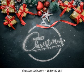 Merry Christmas and happy new year concept, Closeup Christmasball  with bokeh, Xmas holiday background.
