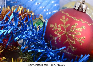 Merry Christmas and Happy New Year Holiday card. 2021 Christmas holiday balls set.