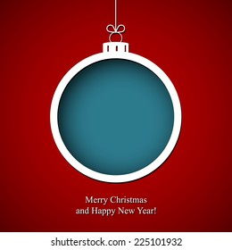 Merry Christmas and Happy New Year with snowflake ball. Greeting card. Winter holiday background.