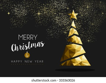Merry christmas and happy new year fancy gold xmas tree in hipster low poly triangle style. Ideal for greeting card or elegant holiday party invitation