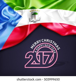 Merry Christmas and Happy new year 2017 Equatorial Guinea creative fabric background