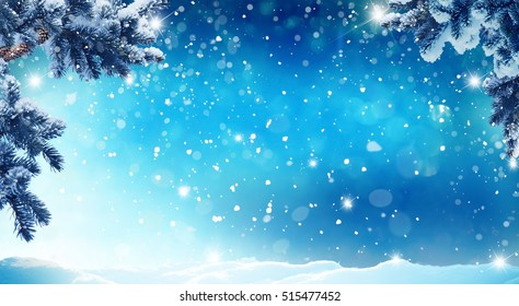 Merry christmas and happy new year greeting card with copy-space.Christmas background.Winter landscape with snow and fir trees