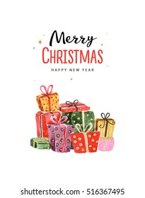 Merry Christmas And Happy New Year 2017. Christmas gifts watercolor illustration