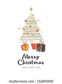 Merry Christmas And Happy New Year 2017. Christmas gift and christmas tree