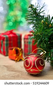 Merry Christmas and Happy New Year, Red christmas ornaments. Winter holidays. Xmas theme. Space for text. Happy New Year.