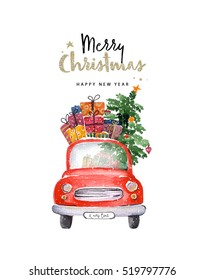 Merry Christmas and Happy New Year illustration. Watercolor christmas car illustration