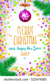 Merry Christmas and Happy New Year 2017 greeting card, confetti on the table, a hand-written inscription tree branch ball art