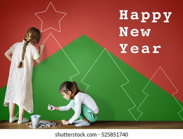 Merry Christmas Happy New Year Concept