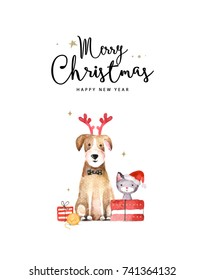 Merry Christmas and Happy New Year card. Watercolor illustration of dog and cat.