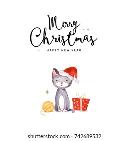 Merry Christmas and Happy New Year card. Watercolor illustration of cat.