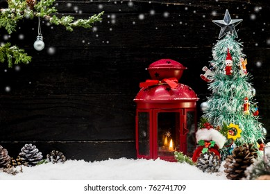 Merry Christmas and Happy New Year, winter season with snow and copy space for text