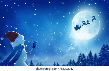 Merry christmas and happy new year greeting card with copy-space.Happy snowman standing in winter christmas landscape.Santa and his sleigh flying over snowy landscape