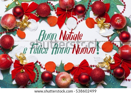merry christmas and happy new year in italian language 2017 card holiday frame from apples