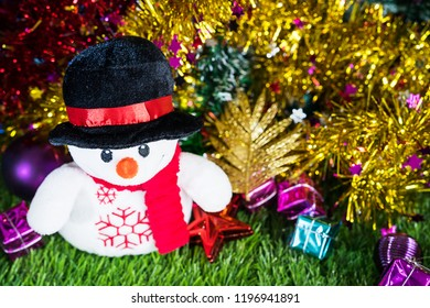 Merry Christmas and Happy New year,Holiday decoration and snow man on green grass