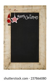 Merry Christmas and Happy New Years chalkboard blackboard star and puppet decoration restaurant vintage menu design on painted reclaimed wooden frame isolated on white with copy space