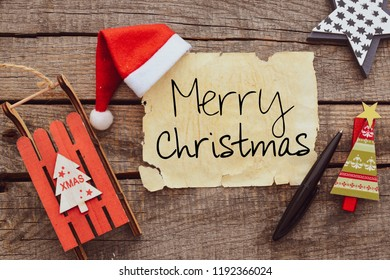 Merry Christmas inscription on aged paper